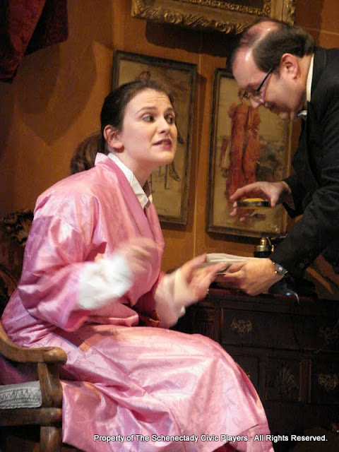 Stephanie G. Insogna and John Quinan in THE ROYAL FAMILY (R) - December 2011.  Property of The Schenectady Civic Players Theater Archive.