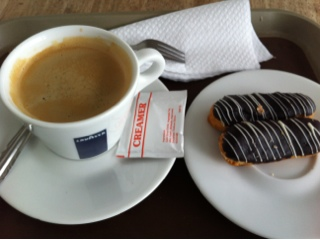 Coffee and mini choc eclair from Cottage Pies cafe Singapore