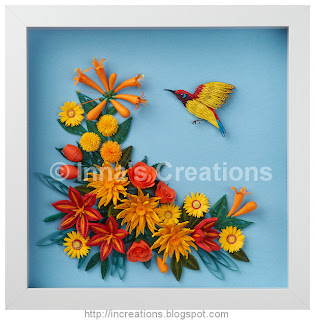 Flowers and sunbird, framed