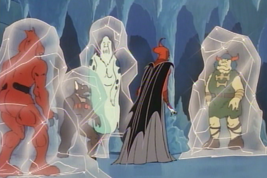 Venger and his minions, encased in ice