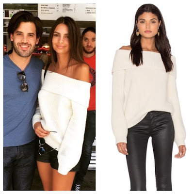 Emily Ratajkowski in Ivory Cream LPA Ribbed Off the Shoulder Sweater 2