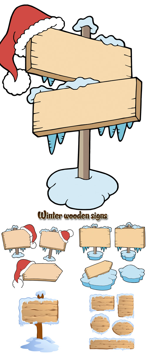 Stock: Winter wooden signs