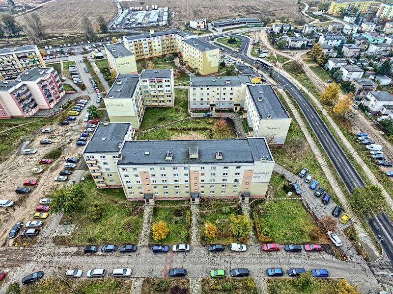 wynajem drona zdjęcia z lotu ptaka z drona Bydgoszcz Fordon z lotu ptaka w HDRach