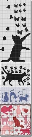 siluetas gatos punto de cruz monocromo  (23)