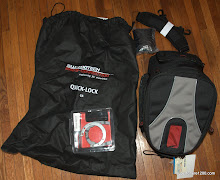 The bag comes with the storage bag, waterproof cover, and shoulder strap. Tank rings are purchased separately to suit your specific motorcycle.
