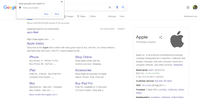 Google Recommendation for Apple
