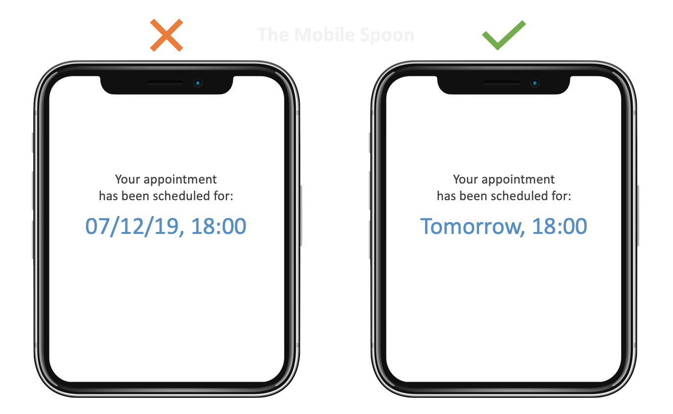 UX Writing - Use today, yesterday or tomorrow instead of dates whenever possible