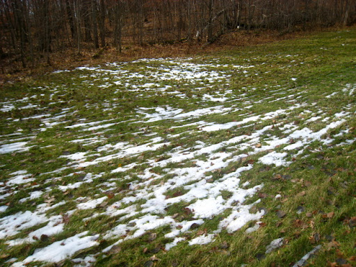 Photo taken November 1st of a small patch of snow at the bottom of Suicide Hill