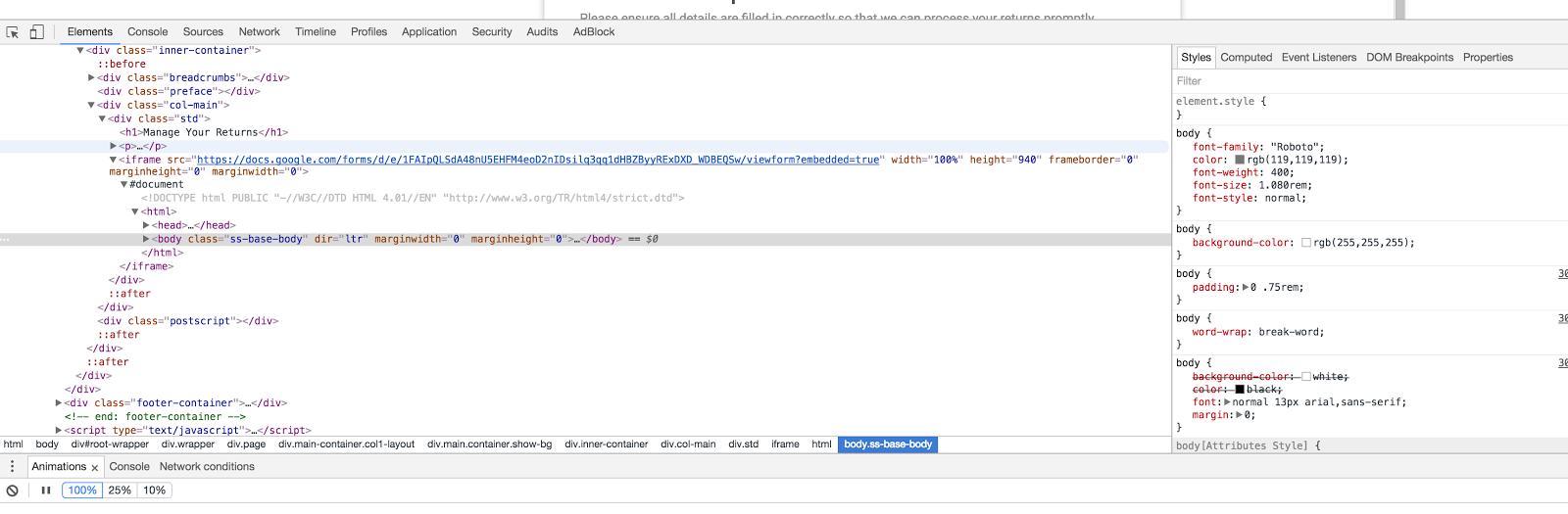 embedding google form not working on wordpress - Edytory