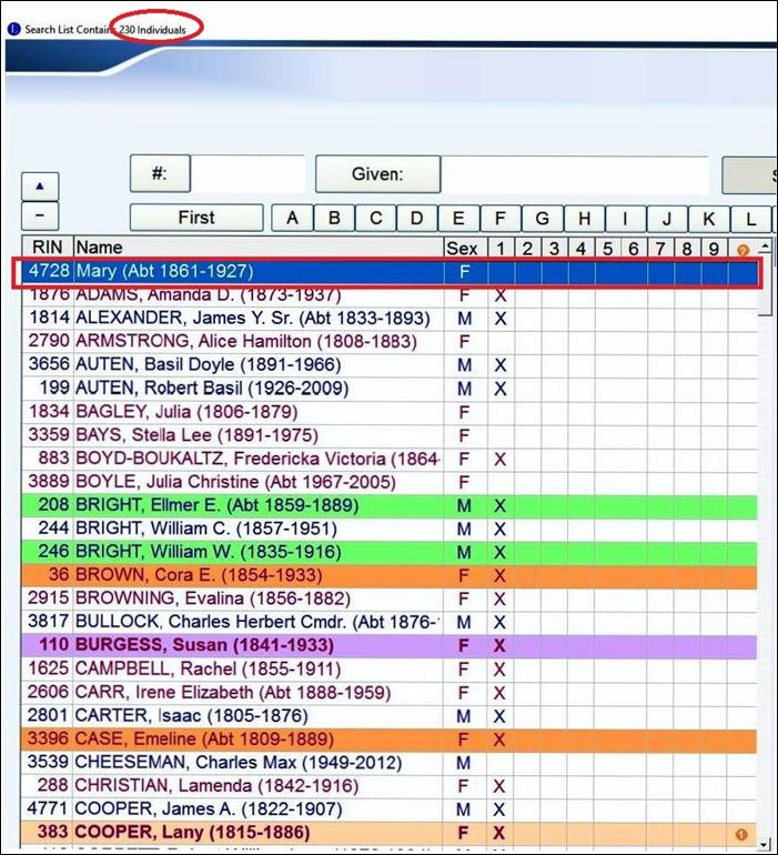 Obits list of 7 May 2017 - screenshot