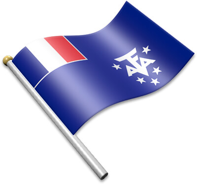 The French Southern Territories  flag on a flagpole clipart image