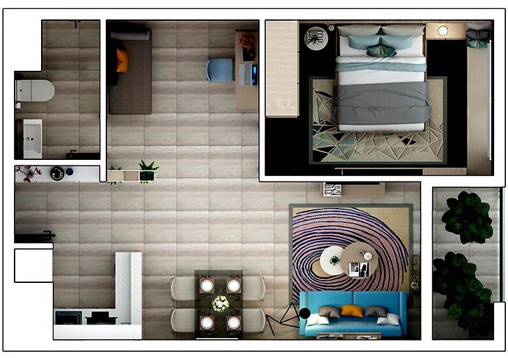 Phối cảnh 2D căn hộ 1 phòng ngủ + 1 phòng đa năng DT: 52,28m²