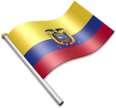 The Ecuadorian flag on a flagpole clipart image