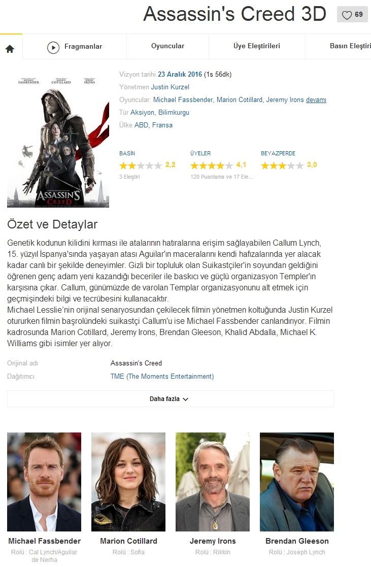 Assassins Creed 2016 - 1080p 720p 480p - Türkçe Dublaj Tek Link indir