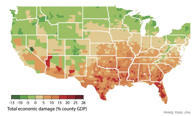 Local economic costs/benefits from climate change in the U.S. under business-as-usual scenario by the years 2080–2099. Graphic: Hsiang et al., 2017 / Science