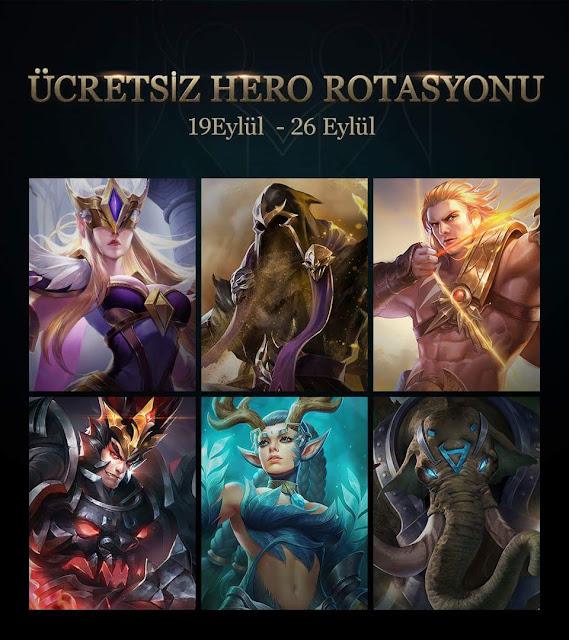 Arena of Valor 19 Eylül 26 Eylül Ücretsiz Oynayabileceğiniz Kahramanlar