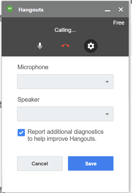 Webcam choice not appearing in gmail hangout pull-downs