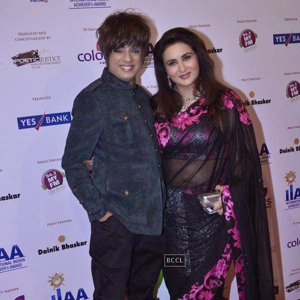 Rohit Verma and Poonam Dhillon at the International Indian Achievers Awards event, held at Filmcity in Mumbai. (Pic: Viral Bhayani)