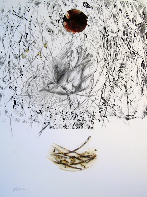 'Pursued by the Moon ' 21 x 15 Mixed Media on Paper (charcoal, monotype, beeswax, birdshells) SOLD