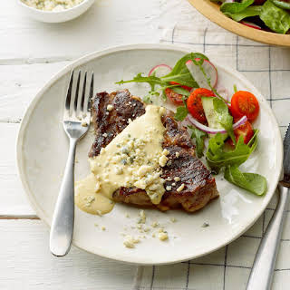 Grilled Ribeye with Garlic Blue Cheese Mustard Sauce.