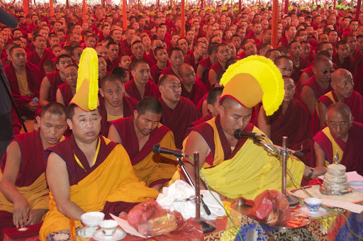 Monks from Sera Je Monastery at long life puja. Bodh Gaya, India, January 2012.