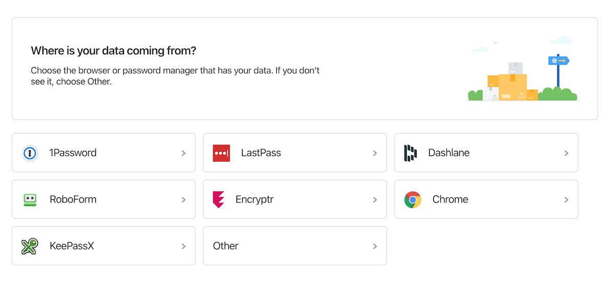 importing passwords to 1Password.