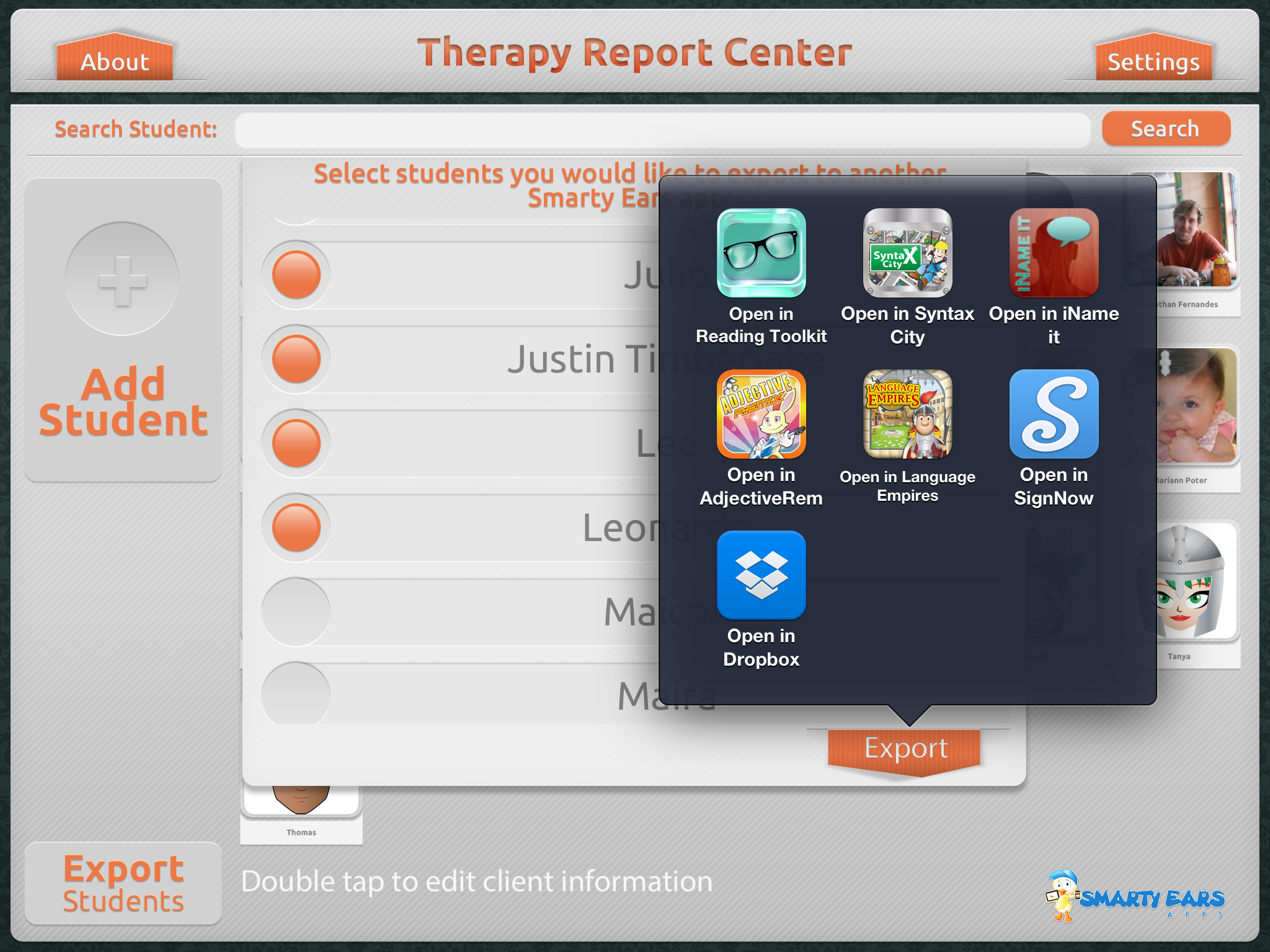 Therapy Report Center Export Students