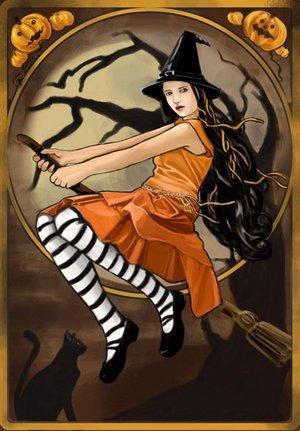 Lady On Magic Broom, Magic And Spells
