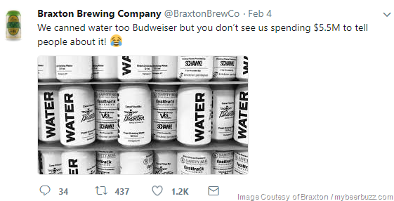 Braxton Brewing Zings Budweiser For Super Bowl Ad
