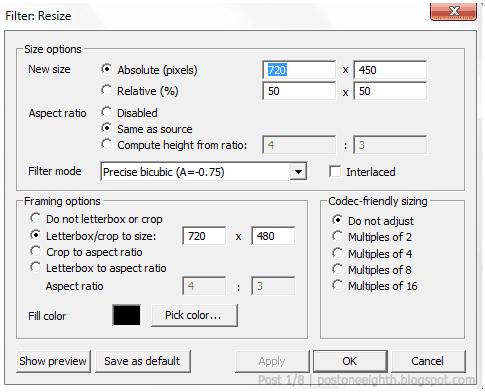 Resize settings