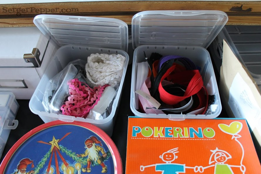Slizzin' Summer series - Organize Your Sewing Room Low-Budget - Serger Pepper - mixed container - sewing room drawer - low cost boxes
