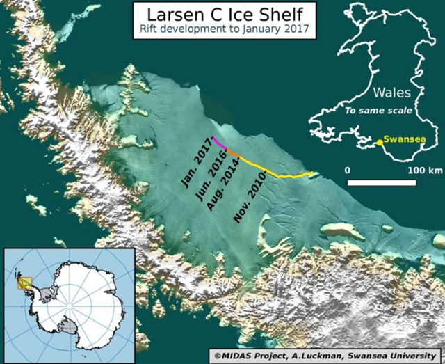 Larsen C ice shelf rift development to January 2017. A huge iceberg, a quarter the size of Wales, is poised to break off from the Larsen C ice shelf. Graphic: Adrian Luckman