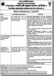 IARI Advertisement 2017 www.indgovtjobs.in