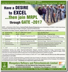 MRPL Recruitment through GATE 2017 www.indgovtjobs.in