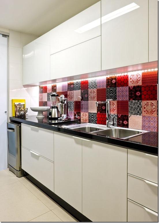 cozinha branco e vermelho