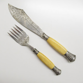 Sterling Silver Victorian Fish Carving Set