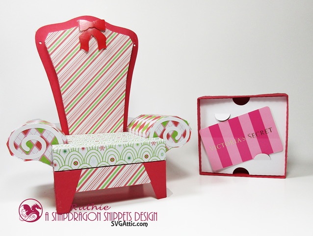 Santa 3D arm chair box - SnapDragon Snippets - Gift Card Box - Ruthie Lopez - My Hobby My Art  2