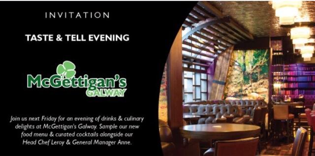 Mc Gettigans Galway Taste & Tell Blogger Event