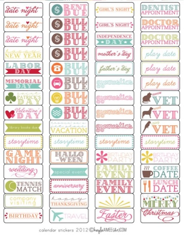 Here are some more printable calendar stickers from Mom Endeavors