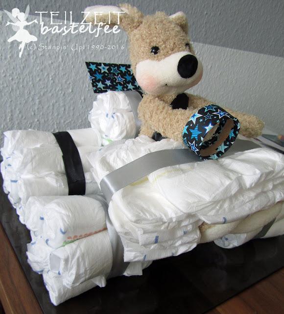 Windelauto, Steiff Hase Mr. Cupcake, diaper car, napkinbearbeitenBildunterschrift löschen