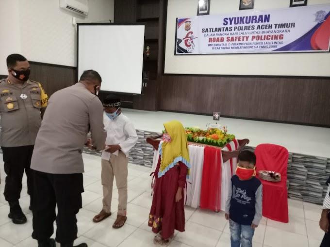 Syukuran Hari Lalu Lintas Bhayangkara Ke-65, Polres Aceh Timur Santuni Anak Yatim