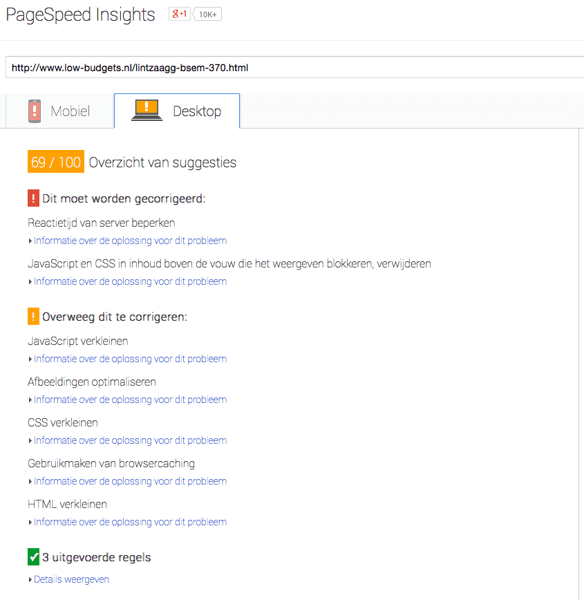 Google Pagespeed Insights voor low-budgets.nl