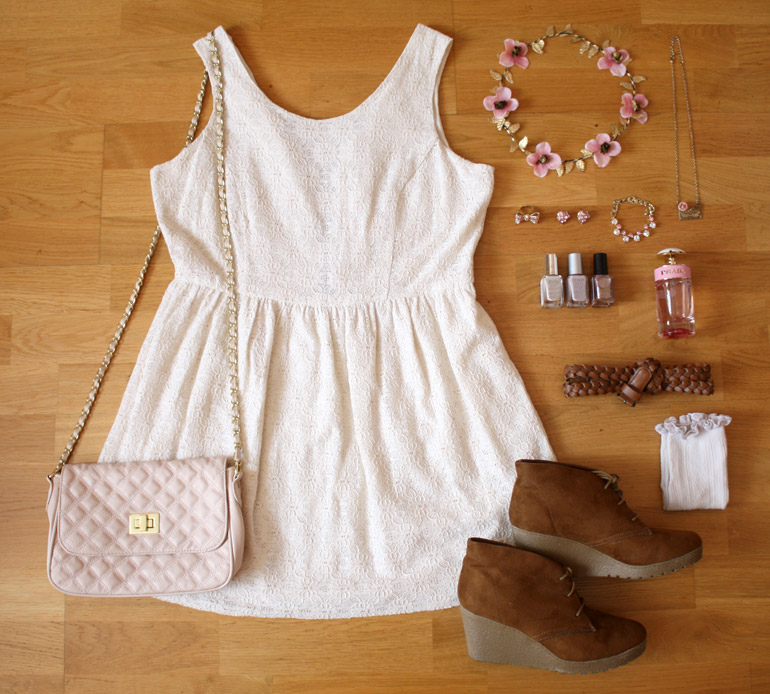 cream lace summer dress fashion outfit flat lay from the high street