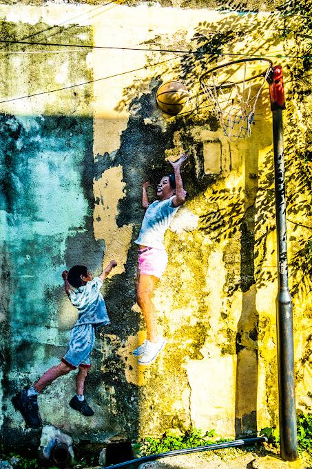 ペナン ジョージタウン ストリートアート Children Playing Basketball2
