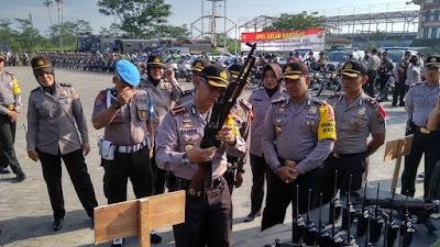 Jelang Pemilihan Gubernur Dan Wakil Gubernur Riau Tahun 2018,Polresta Pekanbaru Gelar Peralatan Dinas