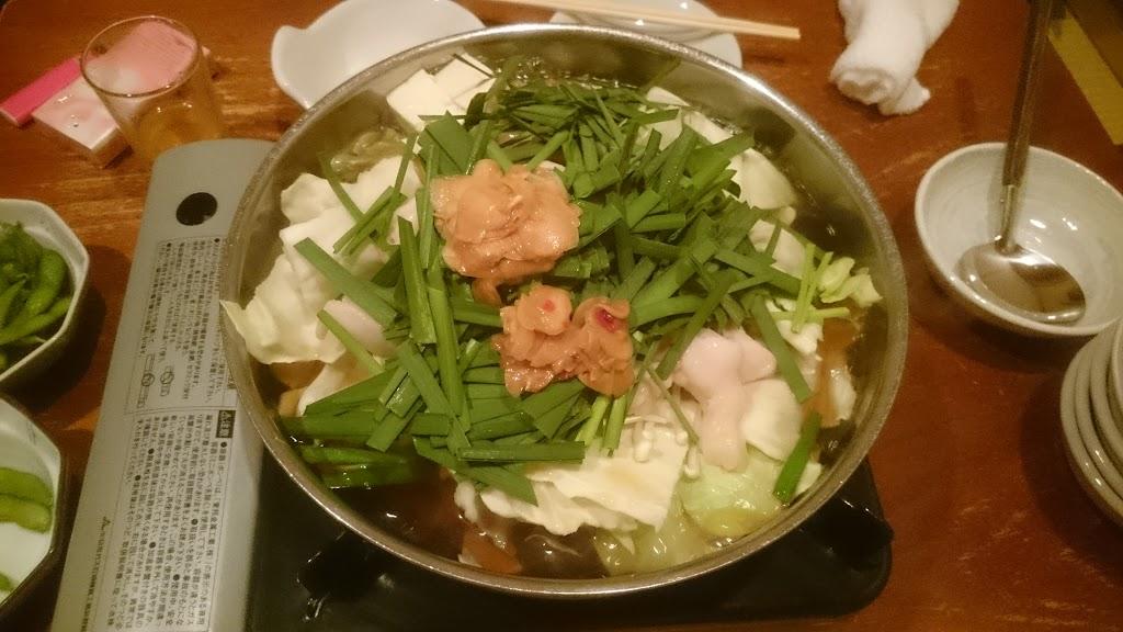 一慶 西中洲店で食べたモツ鍋の写真
