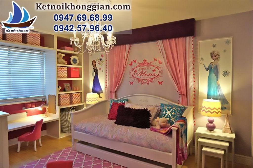 thiết kế phòng bé gái phong cách hoạt hình