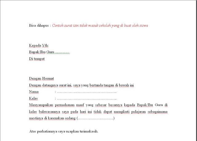 Surat ijin siswa sd, smp, sma
