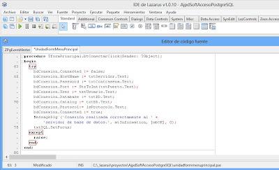 Código fuente Lazarus de la aplicación para acceso a PostgreSQL o cualquier otro motor de base de datos con ZeosLib