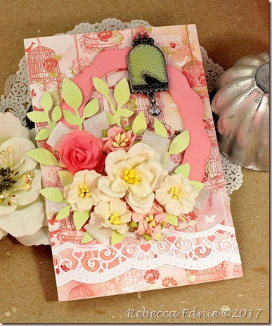 shabby pink floral frame